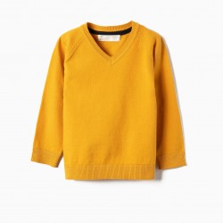 KNITTED SWEATER FOR BABY BOY, YELLOW