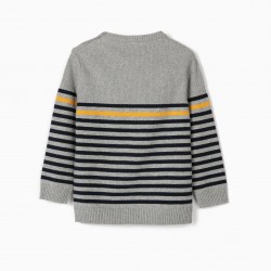 KNITTED SWEATER FOR BABY BOY 'STRIPES', GRAY