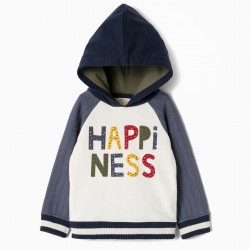 SWEATSHIRT FOR BABY BOY 'HAPINESS', BLUE AND WHITE