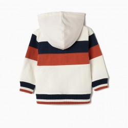 BABY BOY 'HAPINESS' HOODED COAT, TRICOLOR
