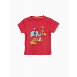 T-SHIRT FOR BABY BOY 'ANIMALS', RED
