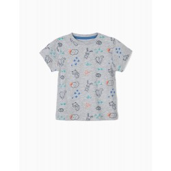 PRINTED T-SHIRT FOR BABY BOY, GRAY