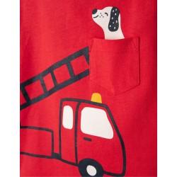 LONG SLEEVE T-SHIRT FOR BABY BOY 'FIRETRUCK', RED