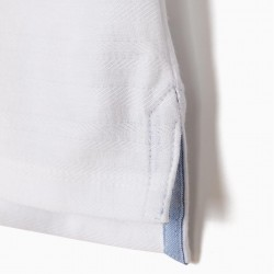 BABY BOY POLO WITH TEXTURE AND MAO COLLAR, WHITE