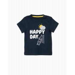T-SHIRT FOR BABY BOY 'HAPPY DAY', DARK BLUE