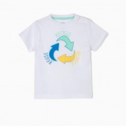 BABY BOY T-SHIRT 'RECYCLE', WHITE