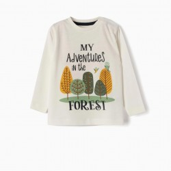 LONG SLEEVE T-SHIRT FOR BABY BOY 'MY ADVENTURES', WHITE