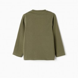 LONG SLEEVE T-SHIRT FOR BABY BOY 'WISHING FOR', GREEN