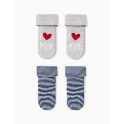 PACK 2 SOCKS FOR BABY BOY 'MUM', GRAY AND BLUE