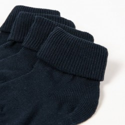 PACK 2 PAIRS OF SOCKS WITH CUFF DARK BLUE