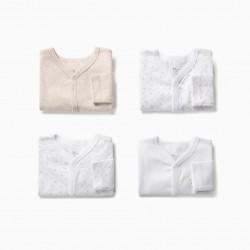 4 LONG SLEEVE BODIES FOR NEWBORN 'FAMILY BEAR', BEIGE / WHITE