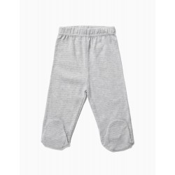 4 PANTS WITH FEET FOR NEWBORN 'SPACE', GRAY AND WHITE