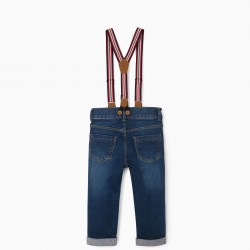 BABY BOY JEANS WITH SUSPENDERS, BLUE