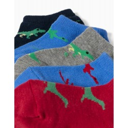 5 PAIRS OF ANKLE SOCKS FOR BABY BOYS, 'DINO', MULTICOLOURED