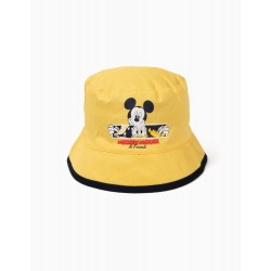 REVERSIBLE, YELLOW AND GRAY BABY BOY HAT 'MICKEY & FRIENDS'