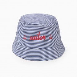 BABY BOY 'SAILOR' AND STRIPED HAT, BLUE