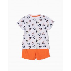 SHARKS BABY BOY PAJAMAS, WHITE AND ORANGE