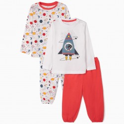 2 LONG SLEEVE PAJAMAS FOR BABY BOY 'CATRONAUT', WHITE / RED