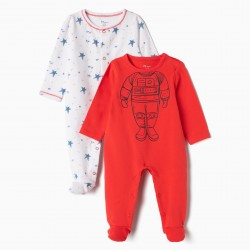 2 BABYGROWS FOR NEWBORN 'ASTRONAUT', RED AND WHITE