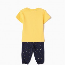 PAJAMAS FOR BABY BOY 'MICKEY OUT OF THIS WORLD', YELLOW AND BLUE