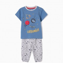 PAJAMAS FOR BABY BOY 'CATRONAUT', BLUE AND GRAY