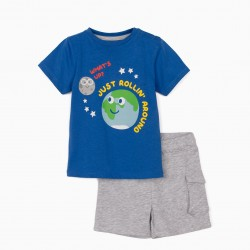 JUST ROLLIN' AROUND 'BABY BOY T-SHIRT AND SHORTS, BLUE / GRAY