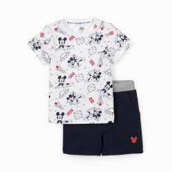 MICKEY SPACE BABY BOY T-SHIRT AND SHORTS, WHITE / DARK BLUE