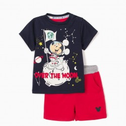 'MICKEY MOON' BABY BOY T-SHIRT AND SHORTS, BLUE / RED