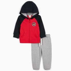 SPACE EXPLORER BABY BOY TRACKSUIT, BLUE / RED / GRAY