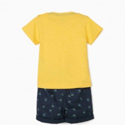'EXPLORE' BABY BOY T-SHIRT AND SHORTS, YELLOW / BLUE