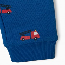 'FIRETRUCK' TRACKSUIT WITH 2 BABY PANTS, BLUE / GRAY