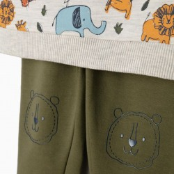 TRACKSUIT FOR BOYS 'ANIMALS', BEIGE AND GREEN