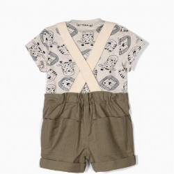 BABY BOY BIB AND T-SHIRT 'ANIMALS', GREEN AND BEIGE