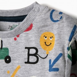 ALPHABET AND BABY BOY T-SHIRT AND T-SHIRT, BLUE AND GRAY