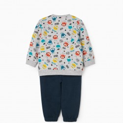'LITTLE MONSTERS' BABY BOY TRACKSUIT, GREY/BLUE