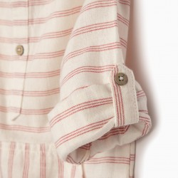 LINEN SHIRT WITH HOOD FOR BABY BOY, WHITE / RED