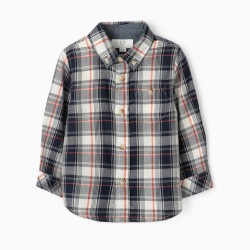 PLAID SHIRT FOR BABY BOY, BLUE / CORAL