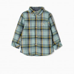 PLAID SHIRT FOR BABY BOY, AQUA GREEN