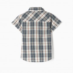 SHORT SLEEVE SHIRT FOR BABY BOY 'CHECKERED', GREEN AND WHITE