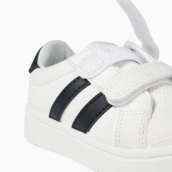 BABY SHOES 'ZY', WHITE AND DARK BLUE