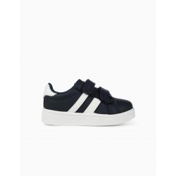 BABY SHOES 'ZY', DARK BLUE AND WHITE