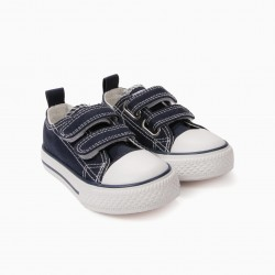 '50'S SNEAKER' BABY SHOES WITH VELCRO, DARK BLUE