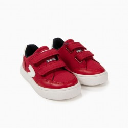 BABY BOY SHOES 'ZY' WITH DOUBLE VELCRO, RED