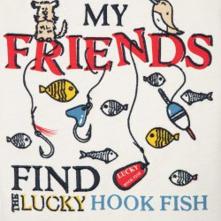 'LUCKY HOOK FISH' BABY BOY T-SHIRT, WHITE