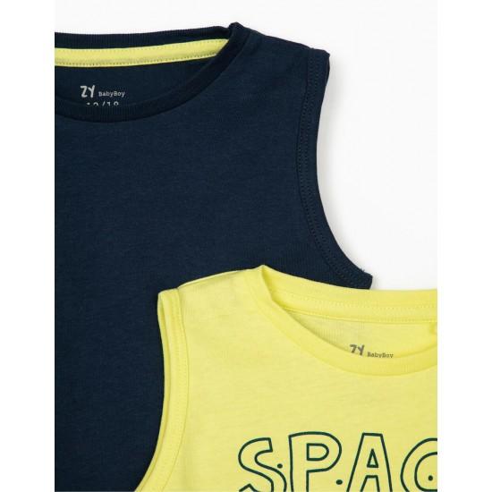 2 MANGA CAVA T-SHIRTS FOR BOY 'SPACE MISSION', BLUE/YELLOW LIMA