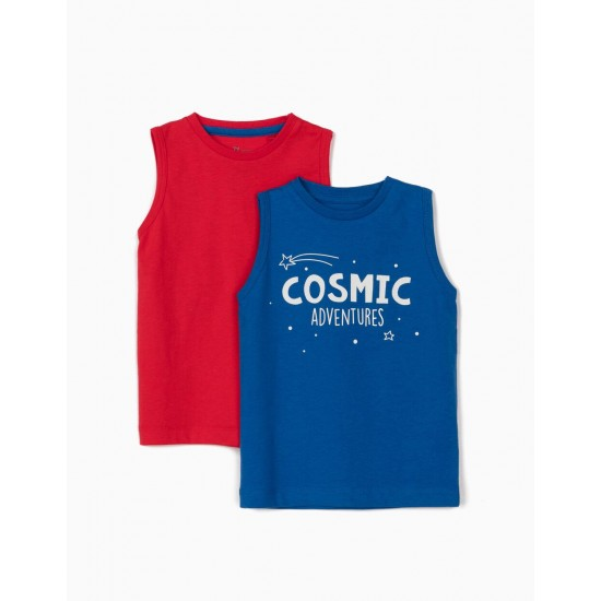 2 SLEEVE T-SHIRTS FOR BABY BOY, BLUE/RED