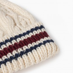 KNITTED BEANIE WITH POMPOM FOR BOYS, BEIGE / BLUE