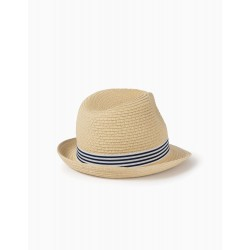 CHILDREN'S STRIPED STRAW HAT, BEIGE