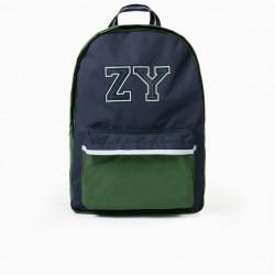 BOY'S BACKPACK 'ZY', GREEN/DARK BLUE