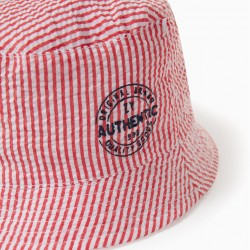 'ZY' BOY'S STRIPED HAT, RED/WHITE